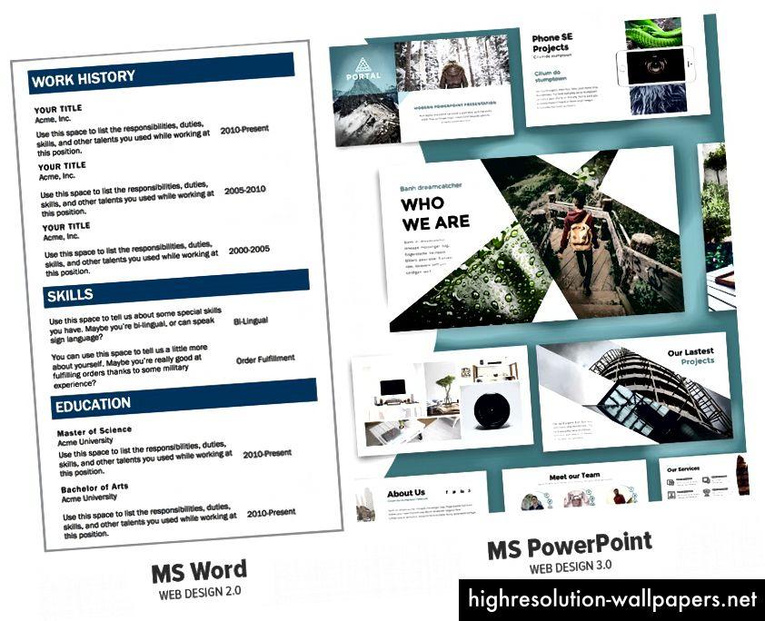 Microsoft Word og Microsoft PowerPoint