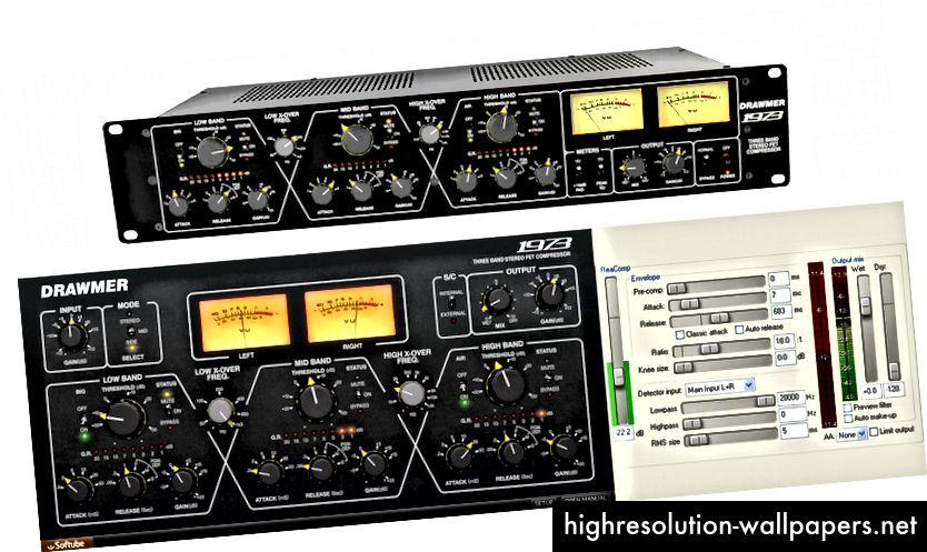 Digitalni audio utikači često oponašaju analogni stupanj prijenosa, poput kompresora, izjednačivača i reverb jedinice. Upotreba skeuomorfnog dizajna iskorištava postojeće mentalne modele. Donji lijevi dodatak koristi skeuomorfni dizajn, dok donji desni dodatak ne.