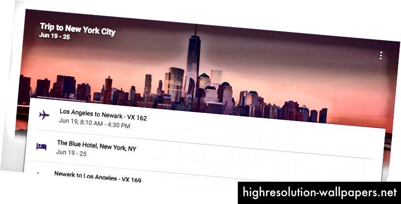 Inbox će dodavati slike na hrpu e-poruka kako bi im se dao smisao. Na primjer, avionske karte i e-adrese za rezervaciju hotela za put u New York prikazuju sliku obrisa grada.
