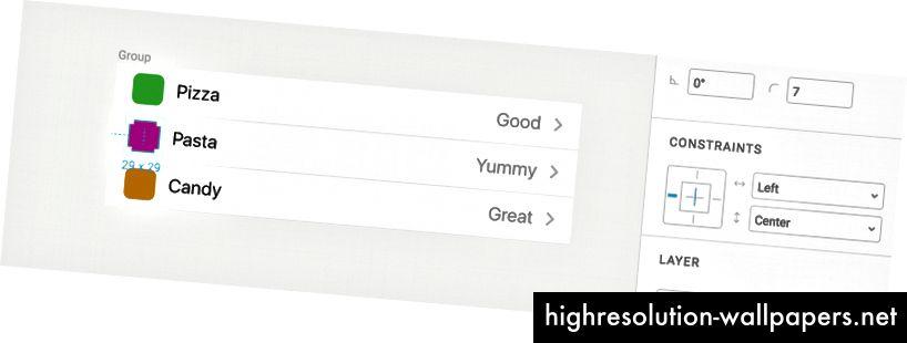 Element odabran na lijevoj strani povezan je s lijevom stranom ploče i centriran