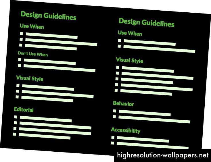 Forskellige komponenter kan resultere i forskellige tilgængelige retningslinjer. Skjul overskrifter på tomme sektioner.