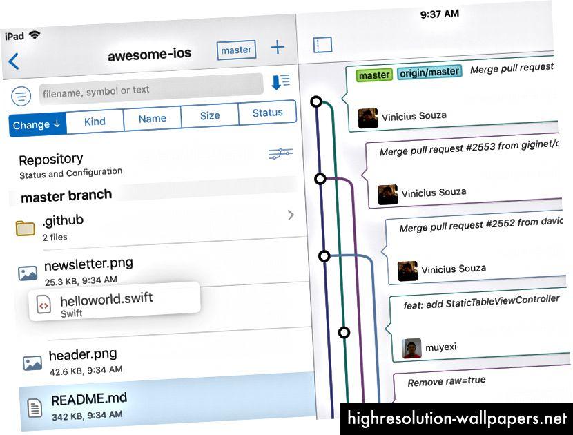 Radna kopija Anders Boruma koristi ugrađen iOS i povuci i spusti