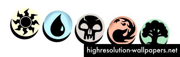 De fem manasymboler (™ og © Wizards of the Coast)