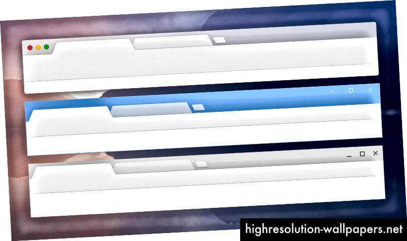 Κανονικό χρωματισμό στον πυρήνα UI σε macOS, Windows και Chrome OS.