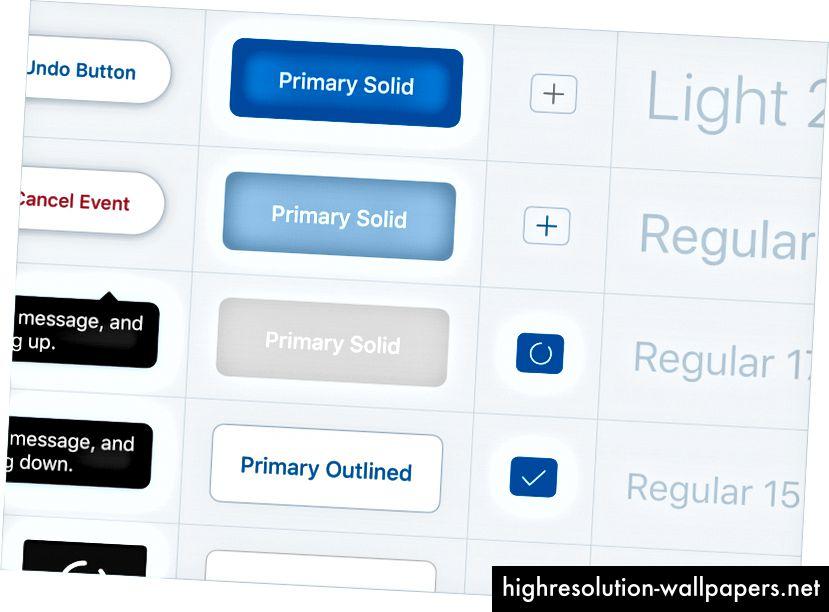 Описание на изображението: Избор на UI компоненти от нашата система за проектиране.