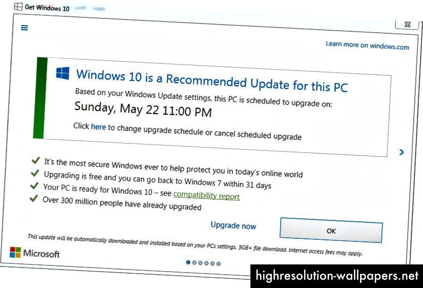 Opdateringsvinduet, som Windows-brugere blev vist