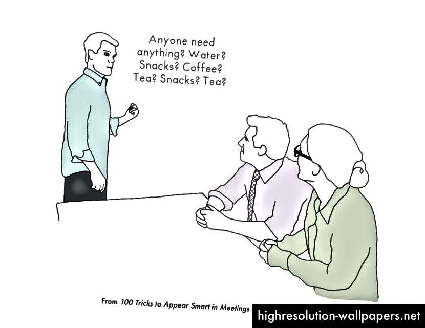 Se me conoce por levantarme e ir a buscar comida durante una reunión. Ilustración del libro hilarante de Sarah Cooper.