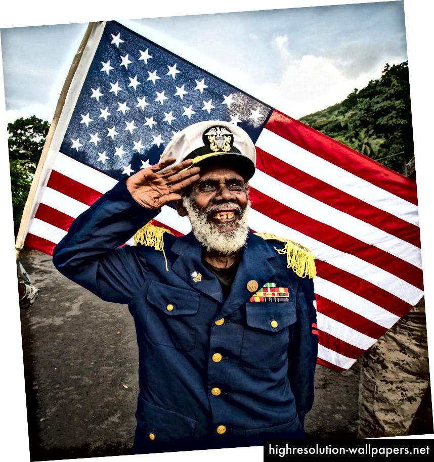 Et medlem af John Frum-hæren. Via Alamy Stock-foto.