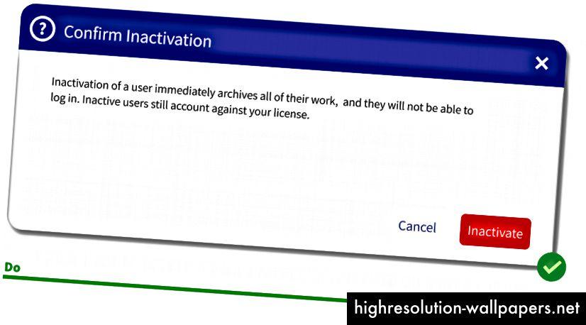 Ahora el administrador sabe si continúan a) todo el trabajo del usuario se archivará yb) todavía están pagando por su licencia. Tal vez esto convenza al administrador de mantener al usuario activo o eliminar completamente la cuenta.