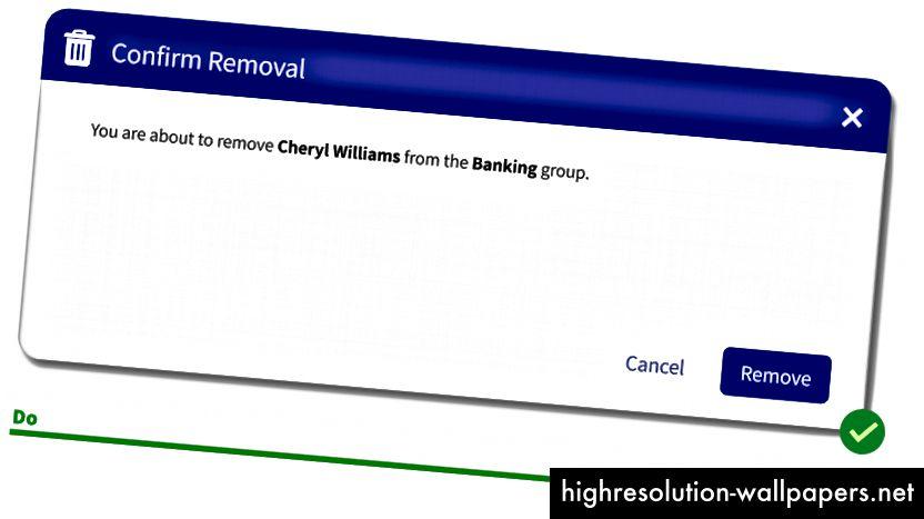 Rápidamente ves que estás eliminando a Cheryl y ella está siendo eliminada del grupo de Banca.