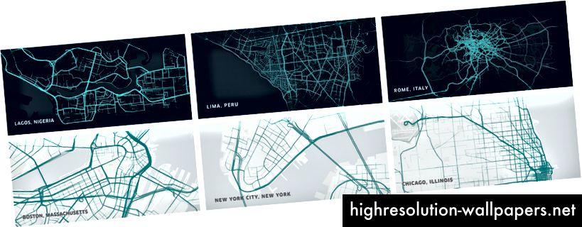 Triplinevisualiseringer, der viser unikke træk ved forskellige byer