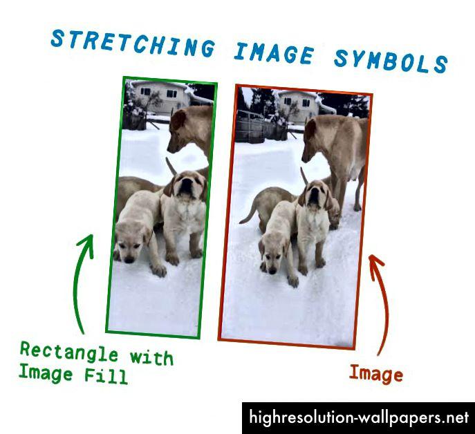 Η εικόνα στα αριστερά είναι ένα σχέδιο για ένα σχήμα και η εικόνα στα δεξιά είναι μια τυπική εικόνα. Έχω τεντώσει τους κάθετα για να δείξει πόσο καλά λειτουργεί το σχέδιο γεμίσματος. Μάθημα # 1: Μην τεντώνετε τα κουτάβια.