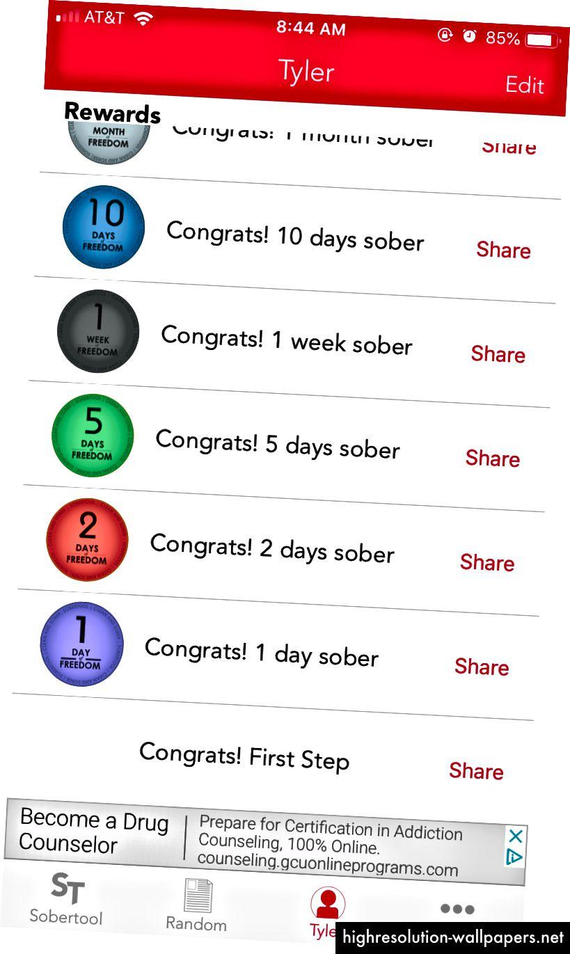 Screenshots af SoberTool, en app til alkoholisme og bedring af afhængighed hjælper. Med tilladelse fra forfatter.