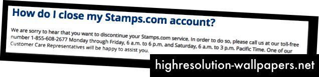Sakrivajući podatke o otkazivanju, Stamps.com može utjecati na dezinformacijsku arhitekturu kako bi se osigurala najprofiniranija usluga koju je bilo moguće zamisliti. Čast!