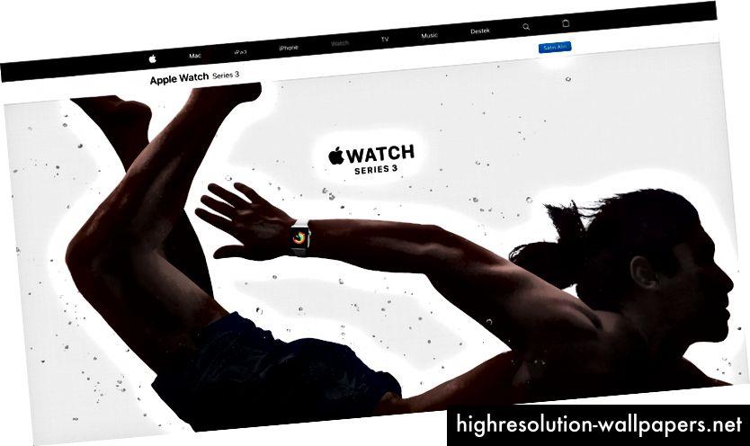 Apples websted, skærm serien 3.