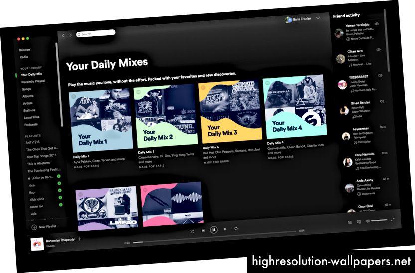 Spotify-appen foreslår sange til mig i henhold til mine tidligere valg.