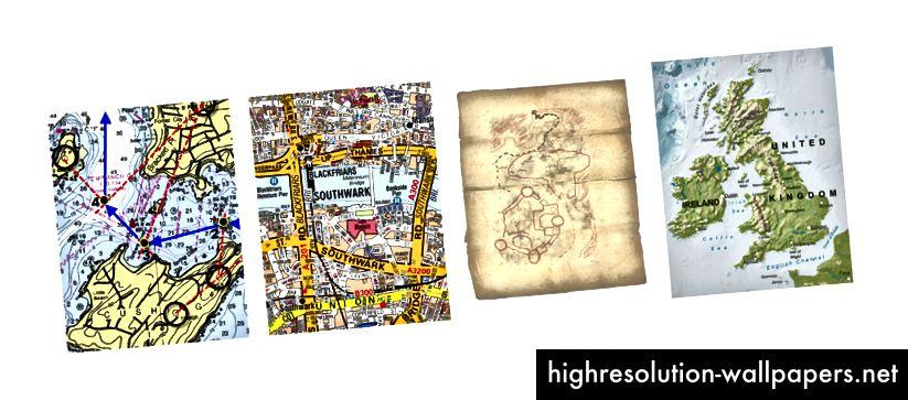 Navigation (bådkort) / Orientering (gadekort) / Finding (skattekort) / Forståelse og viden (atlas)
