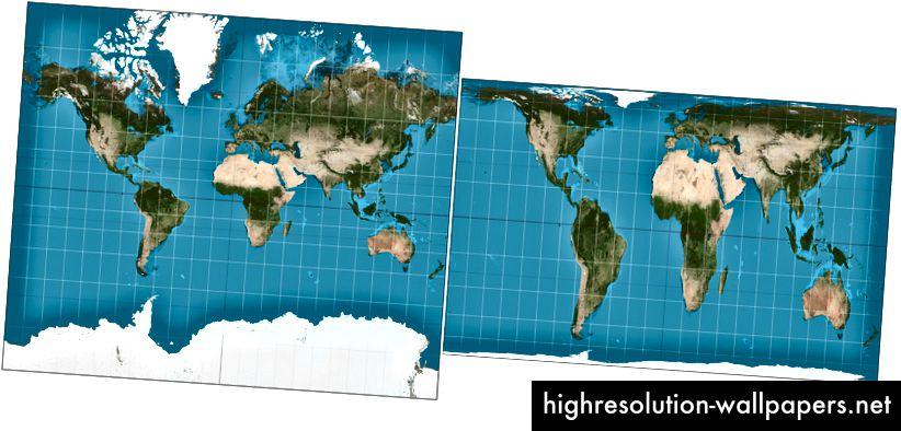 Den allestedsnærværende Mercator-projektion til venstre og den moderne, mere præcise Gall-Peters-projektion til højre.