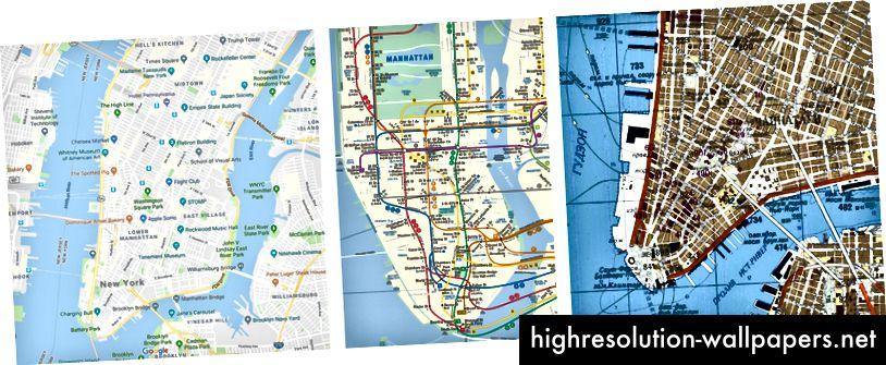 Til venstre: Google Map - Grundlæggende perspektiv, der inkluderer et forenklet 'alt i én' kort over lag, der viser gader, landemærker, geografiske træk og så videre. Center: Subway-kort - Repræsenterer ting lidt anderledes - forenkler det fysiske rum og fremhæver transitlinjer og stationer. Højre: Invasionskort for den kolde krig - oprettet af USSR under den kolde krig, og dette kort viser importerede vartegn for invasion eller sabotage.