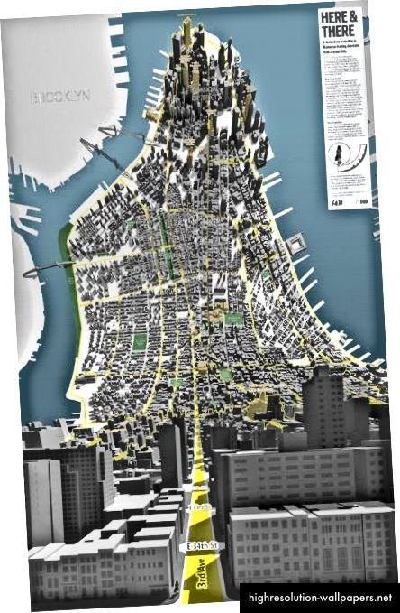 Ένας καμπύλος τρισδιάστατος χάρτης Αυτό είναι επίσης NYC - όπως φαίνεται ότι αν το Μανχάταν είναι αναδιπλώνεται και επεκτείνεται έξω πριν από σας.