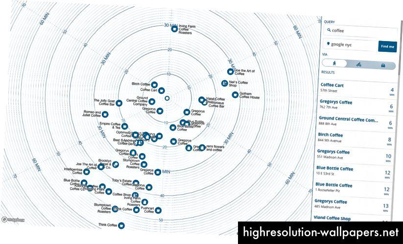 Tidskort Eksperiment fra Mapbox, der viser gåafstandstid fra din placering til bestemte søgeresultater, dvs. kaffesteder.