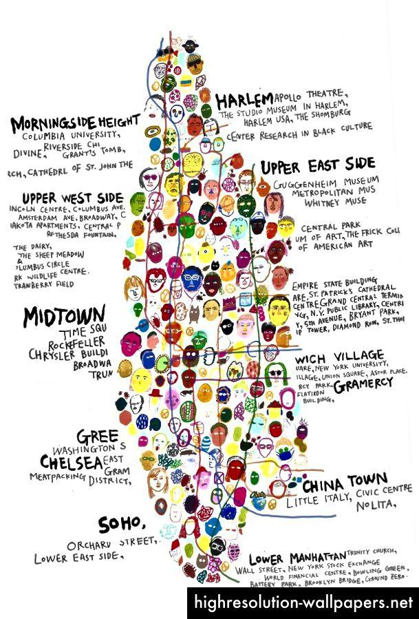 Stilistisk og beskrivende kort Manhattan som forskellige og abstrakte ansigter, kvarterer og steder sammen med beskrivelser af hvad der er der.