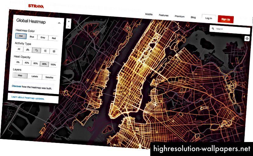Træningskort Varmekort fra Stravas datasæt over deres brugers aktivitet som vist i NYC.
