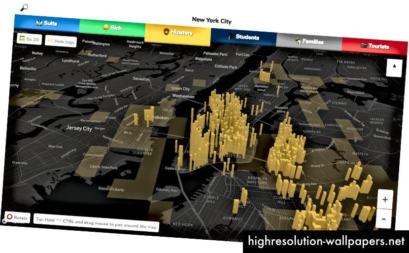 Folkemængde fremskaffede kort Hood-kort beder brugerne om at vise, hvor visse typer af indbyggere bor, og stemningen i kvartererne.