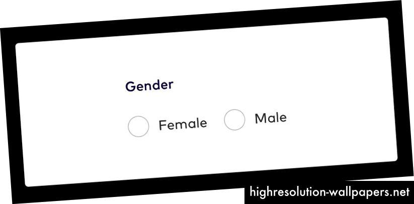 Fotobeskrivelse: Kønformularfelt med to valgknapper for valgknapper; Kvinde og mand.