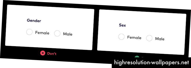 Billedbeskrivelse: To formfelter med en alternativknapindstilling for Kvindelig og mandlig. Det ene formfelt har 'Sex' som titlen, og det andet har 'Køn' som titlen. League anbefaler, at du bruger formularfeltet med 'Sex' som titel.