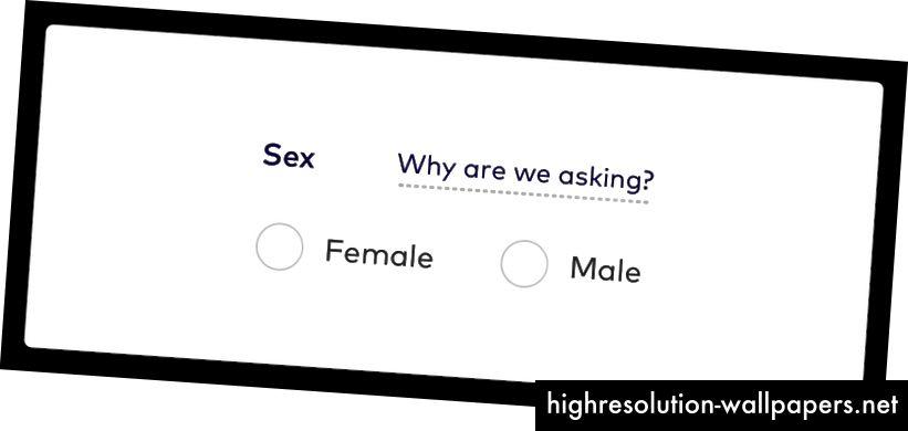 Foto beskrivelse: Et sexformularfelt med to valgknapper for valgknapper; Kvinde og mand. Der er også et værktøjstiplink til