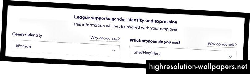 Billedbeskrivelse: Ligas nye identitetsafdeling med et felt for kønsidentitetsformular med