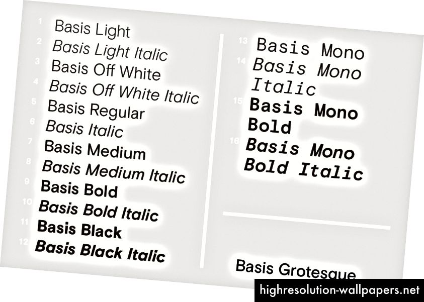 Težine 1–16 od Basis Grotesque, 2015.