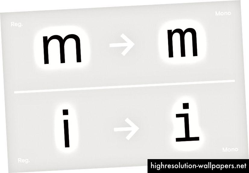 Sammenligning af regelmæssig og mono 'm' og 'i', Basis Grotesque, 2015.