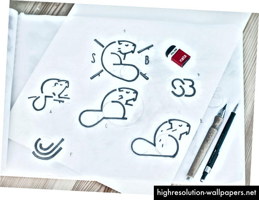 Tidlige skitser af kreativ søgning efter SwiftyBeaver-logo-design