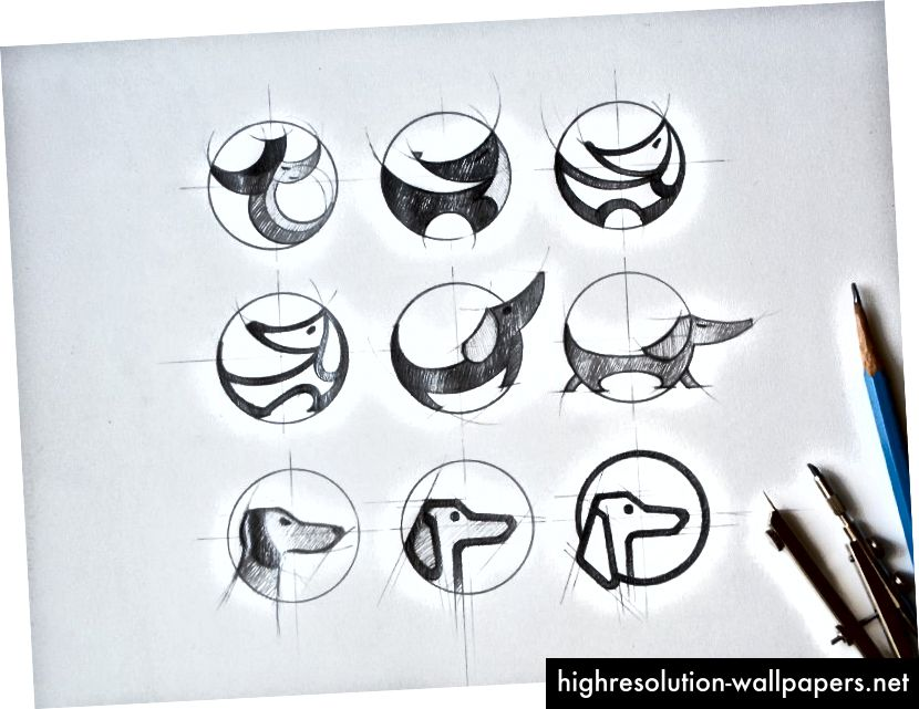 Tidlige skitser af kreativ søgning efter Tubik-logo-design