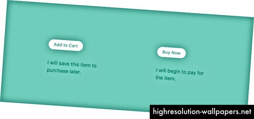 В този пример Добавяне в кошницата и Купете сега позволяват на потребителите да напредват през тръбопровод за покупка. Езикът обаче предполага два различни резултата. Добавяне в кошницата позволява на потребителите да вземат решения по-късно и да купуват няколко артикула едновременно, като в магазин за дрехи. Купете сега позволява на потребителите да финализират покупка, като например, когато купувате самолетен билет.