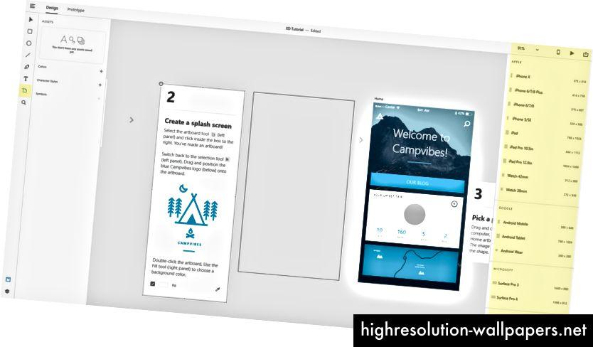 Espacio de trabajo de Adobe XD Design. Opciones de herramientas de mesa de trabajo.