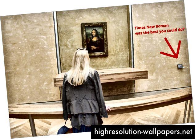 """Plakketekst: """"The Mona Lisa"""" af Leonardo da Vinci er ganske vist et slags kedeligt maleri af en tilfældig hvid dame, men vi syntes rammen var ret cool, så vi lagde den bag dette bombesikre glas. Medium: Gipsmaling over strækket avis."""