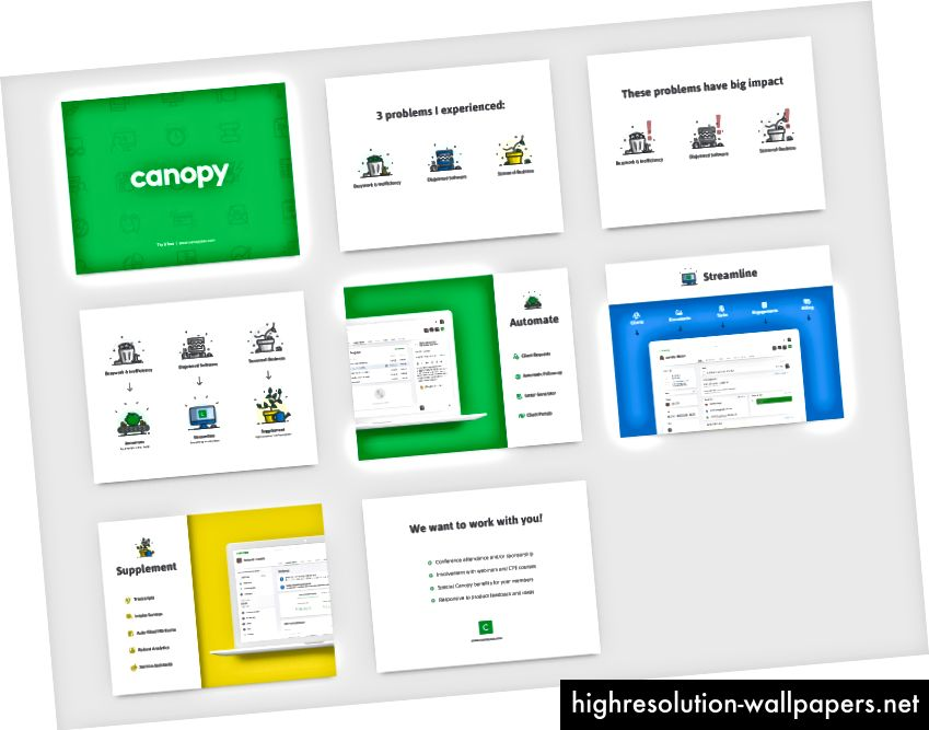 37% af alle lysbilleder i Canopys salgsdæk har skærmbilleder af produktet. Design af Trevor Nielsen.