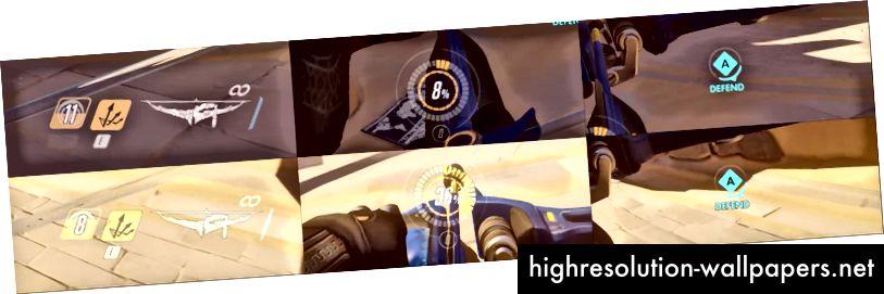 Примеры режимов наложения на темном и светлом фоне в Overwatch