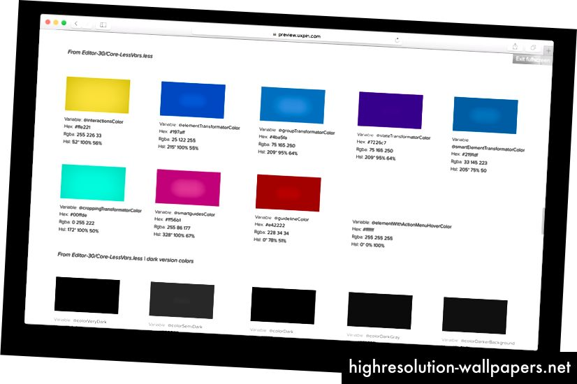 Resultatet af vores Interface Inventory sprint - liste over 116 farvevariabler