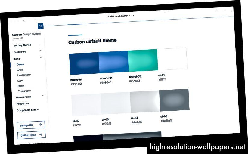 IBM Carbon farve navngivningsmønster