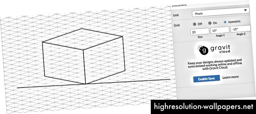 Uobičajena dimenzijska mreža od 15 grid u dizajnu Gravit.