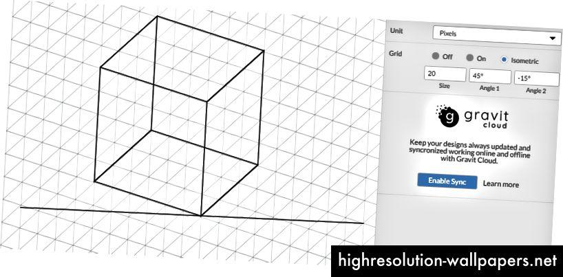 U nekoliko sekundi možete postaviti trimetričnu rešetku u Gravit Designeru.