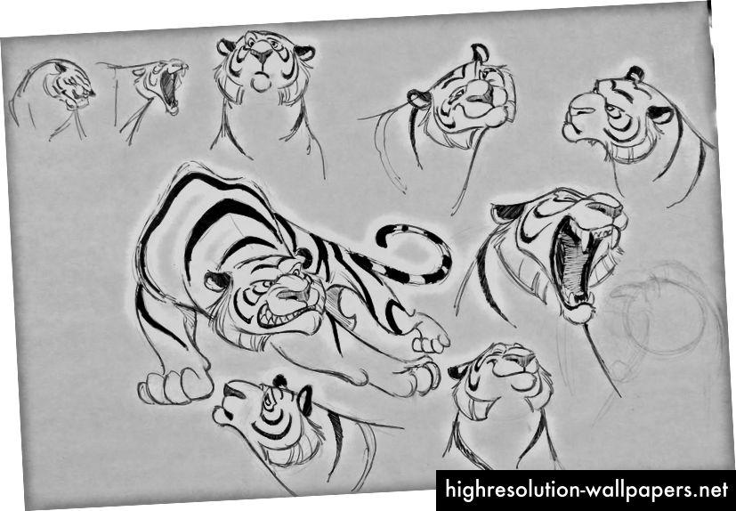 Tidlige koncepter for karakteren Rajah fra Disney-animationen Aladdin (af Concept Artist Aaron Blaise).