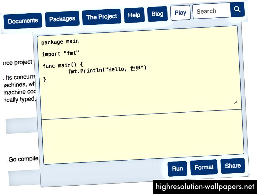 Μπορείτε να ανοίξετε ένα πρόγραμμα επεξεργασίας για να παίξετε με οπουδήποτε στον ιστότοπο Go docs!