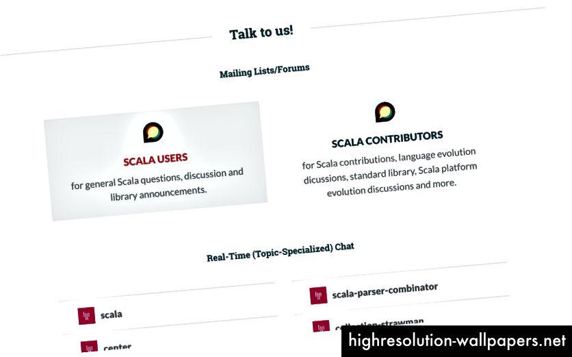 Odjeljak Forumi za komunikaciju zajednice na scala-lang.org