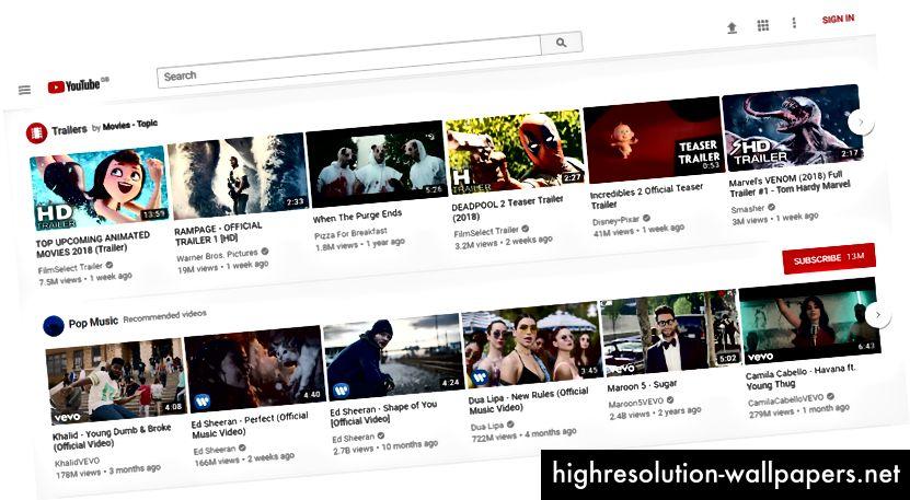 YouTube имеет строгую сетку; прямые ряды карт сгруппированы по категориям.