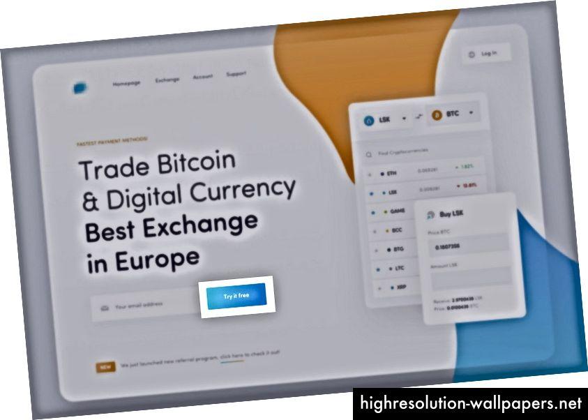 Cryptocurrency Exchange Landing-koncept af Mateusz Piątek